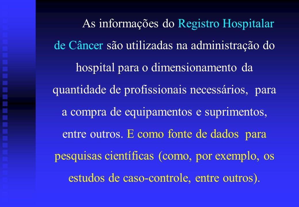 As informações do Registro Hospitalar de Câncer são utilizadas na administração do hospital para o dimensionamento da quantidade de profissionais necessários, para a compra de equipamentos e suprimentos, entre outros.