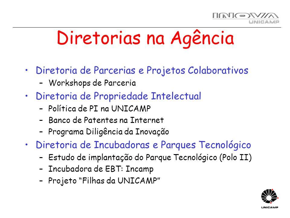 Diretorias na Agência Diretoria de Parcerias e Projetos Colaborativos