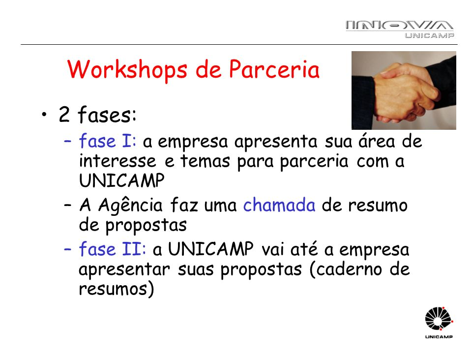 Workshops de Parceria 2 fases: