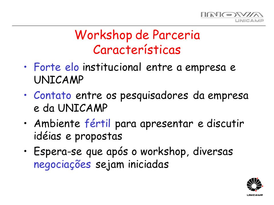 Workshop de Parceria Características