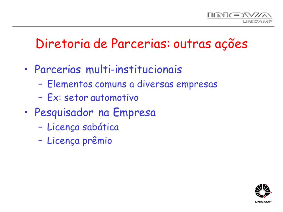 Diretoria de Parcerias: outras ações
