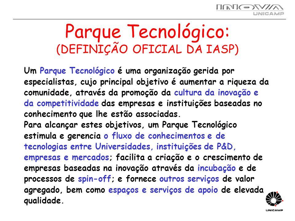 Parque Tecnológico: (DEFINIÇÃO OFICIAL DA IASP)