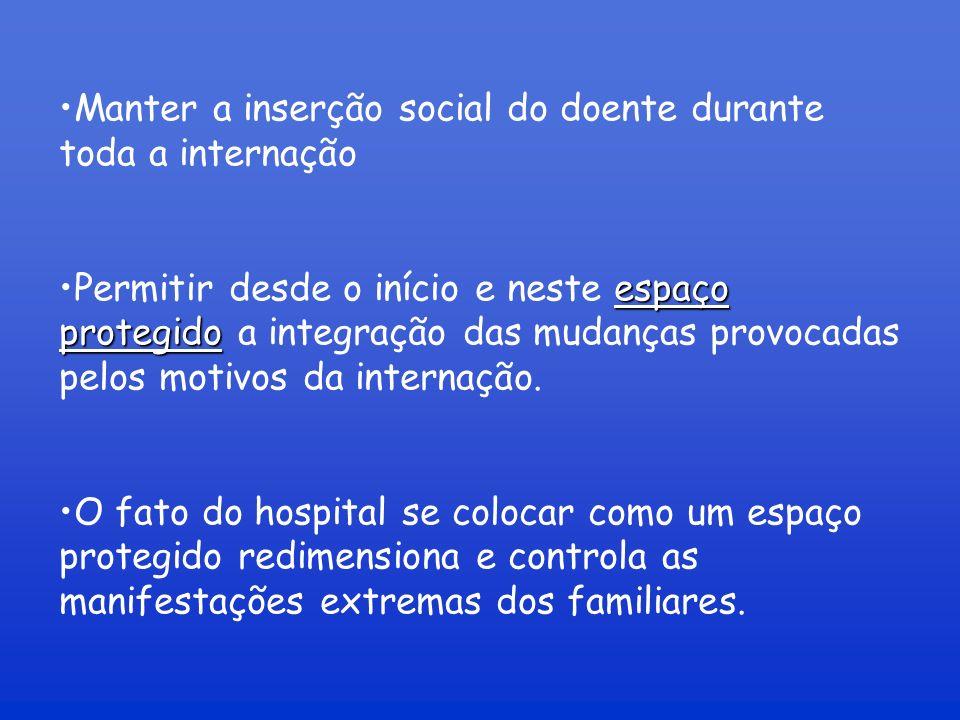 Manter a inserção social do doente durante toda a internação