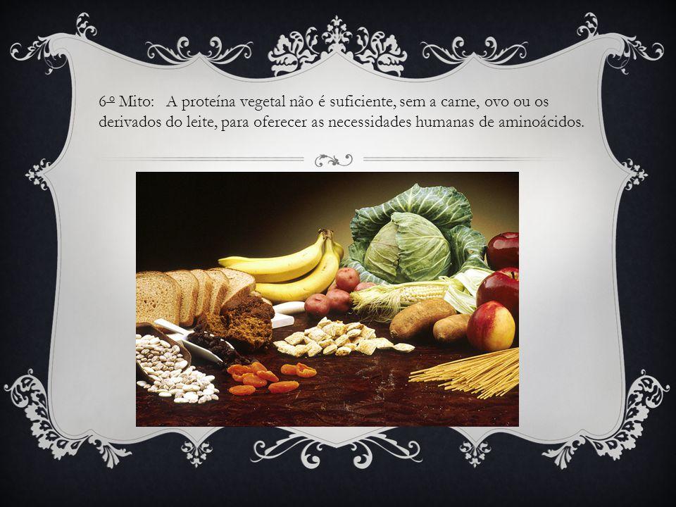 6 o Mito: A proteína vegetal não é suficiente, sem a carne, ovo ou os derivados do leite, para oferecer as necessidades humanas de aminoácidos.