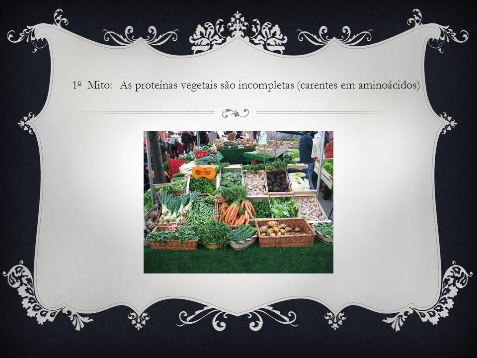 1o Mito: As proteínas vegetais são incompletas (carentes em aminoácidos)