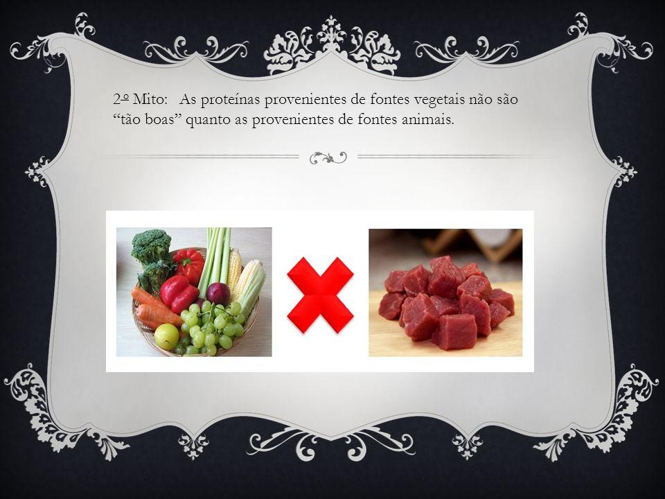 2 o Mito: As proteínas provenientes de fontes vegetais não são tão boas quanto as provenientes de fontes animais.