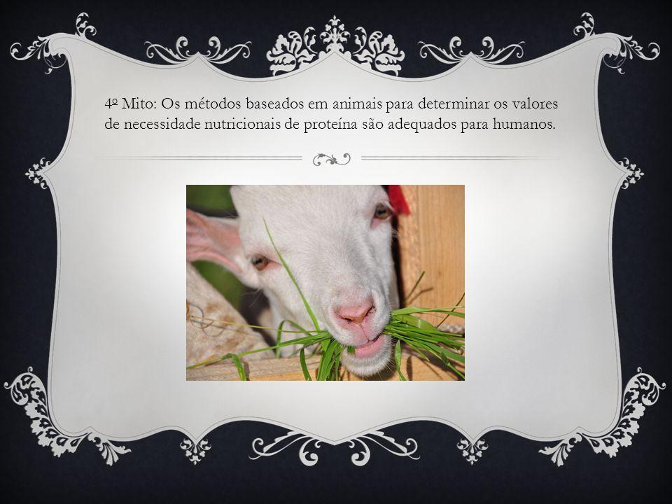 4o Mito: Os métodos baseados em animais para determinar os valores de necessidade nutricionais de proteína são adequados para humanos.