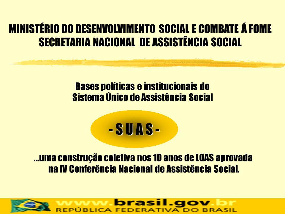 MINISTÉRIO DO DESENVOLVIMENTO SOCIAL E COMBATE Á FOME SECRETARIA NACIONAL DE ASSISTÊNCIA SOCIAL
