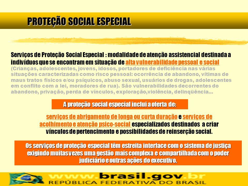 A proteção social especial inclui a oferta de: