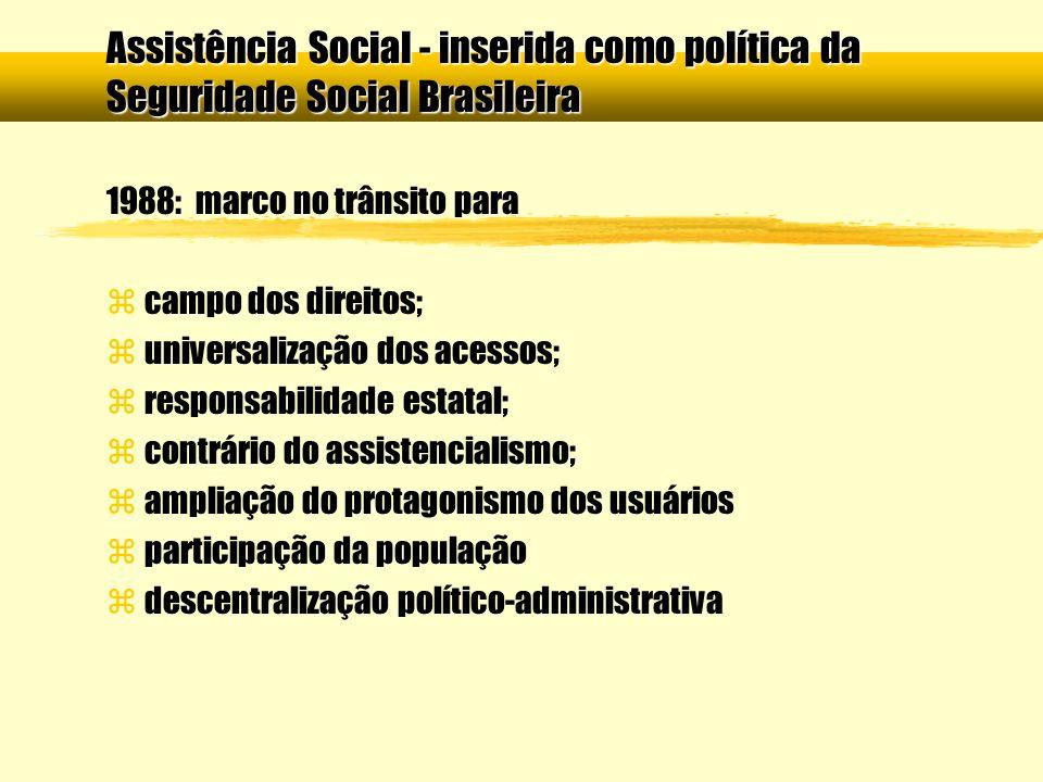Assistência Social - inserida como política da Seguridade Social Brasileira