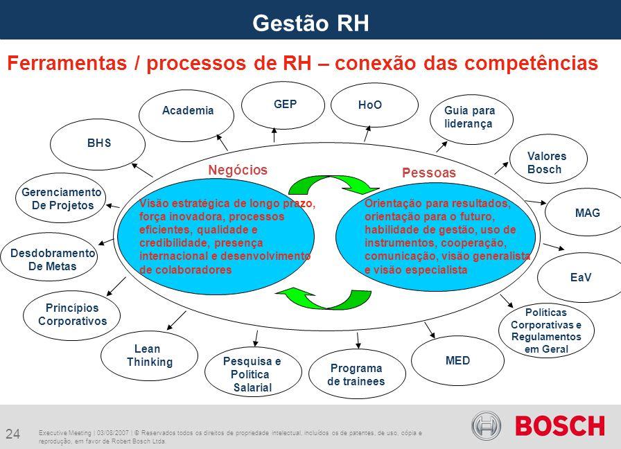 Gestão RH Ferramentas / processos de RH – conexão das competências