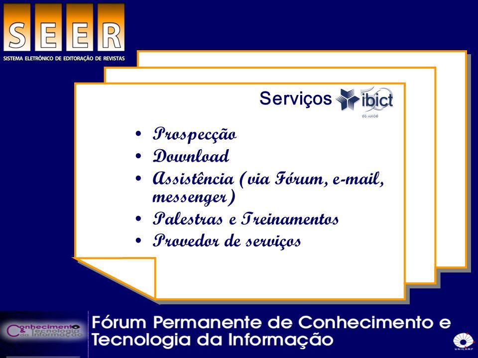 Serviços do ibict Prospecção. Download. Assistência (via Fórum, e-mail, messenger) Palestras e Treinamentos.