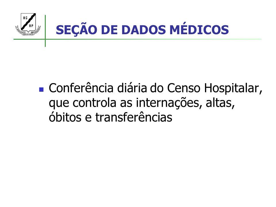 SEÇÃO DE DADOS MÉDICOS Conferência diária do Censo Hospitalar, que controla as internações, altas, óbitos e transferências.