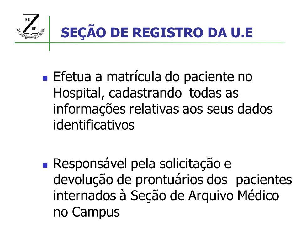 SEÇÃO DE REGISTRO DA U.E Efetua a matrícula do paciente no Hospital, cadastrando todas as informações relativas aos seus dados identificativos.