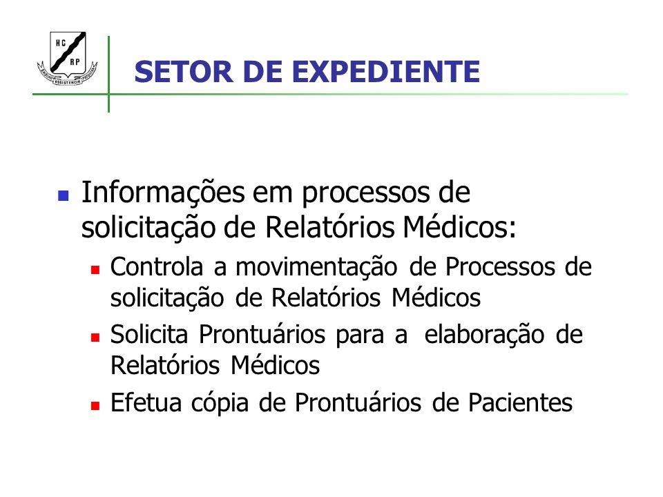 Informações em processos de solicitação de Relatórios Médicos: