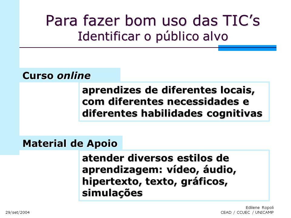 Para fazer bom uso das TIC's Identificar o público alvo