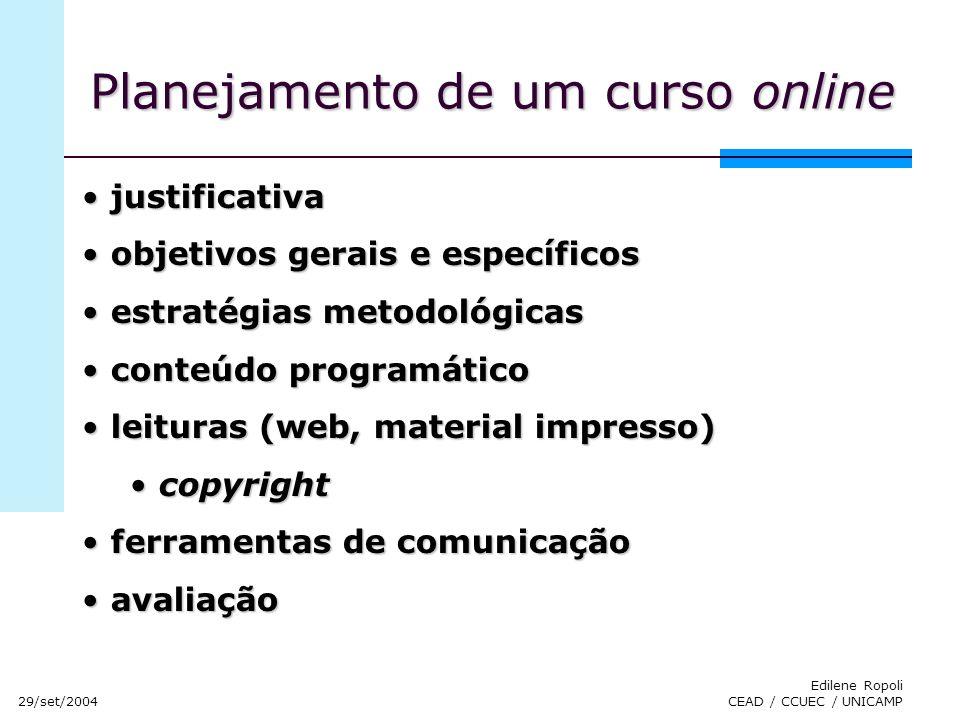 Planejamento de um curso online
