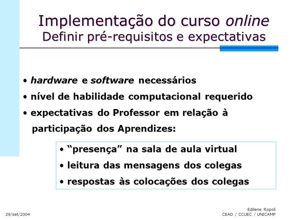 Implementação do curso online Definir pré-requisitos e expectativas
