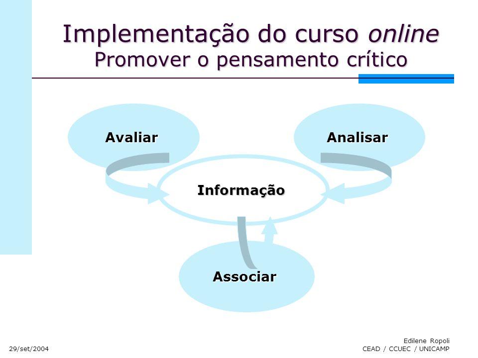 Implementação do curso online Promover o pensamento crítico