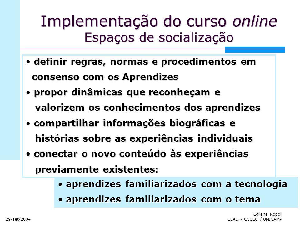 Implementação do curso online Espaços de socialização