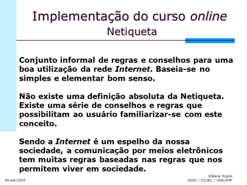 Implementação do curso online Netiqueta
