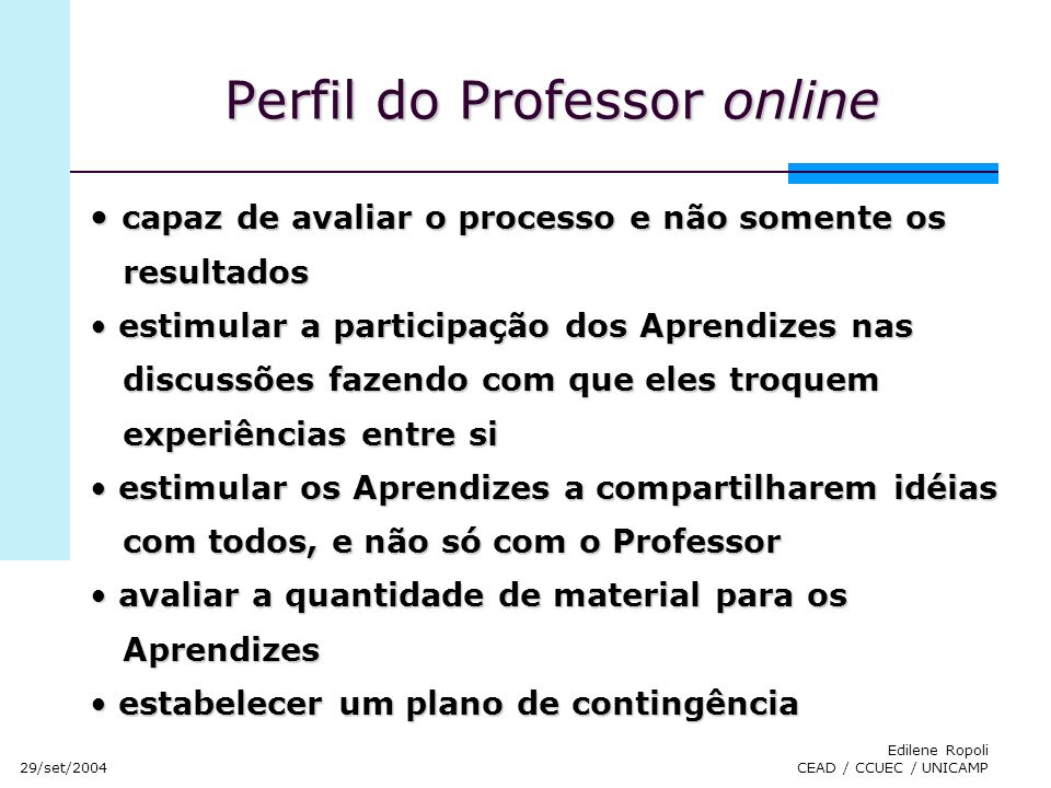 Perfil do Professor online