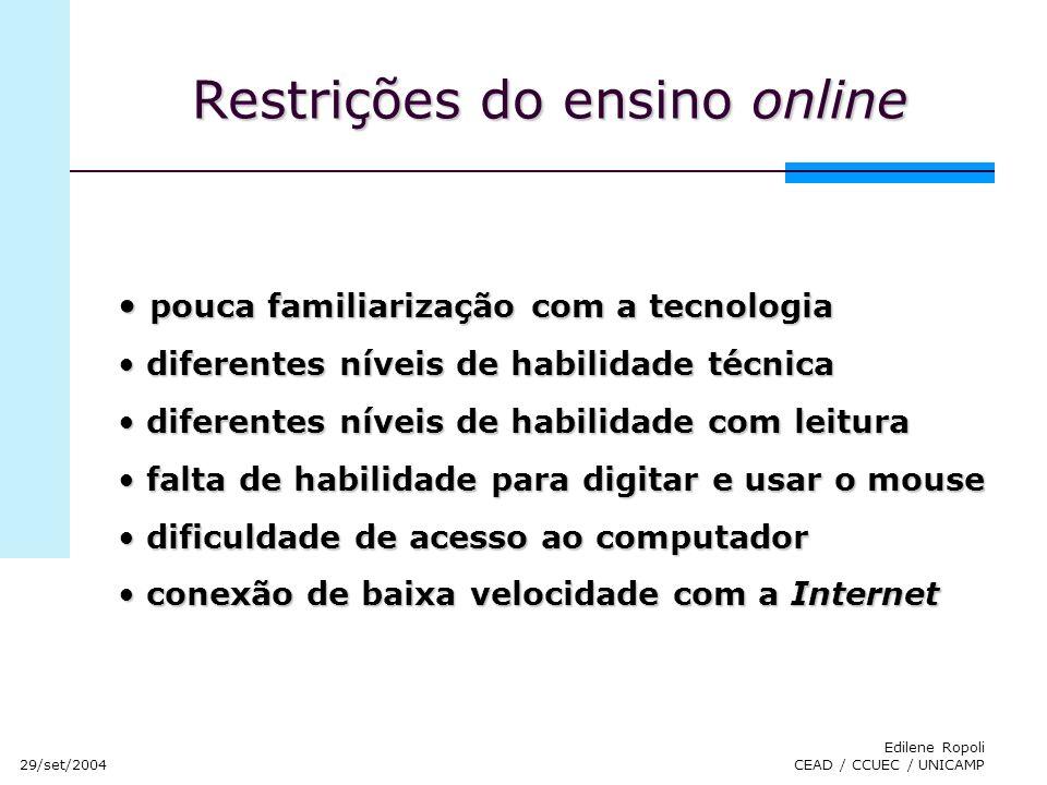 Restrições do ensino online