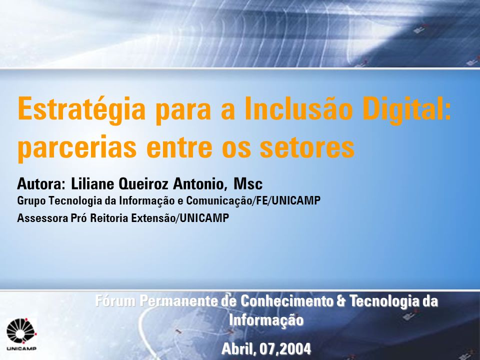 Estratégia para a Inclusão Digital: parcerias entre os setores