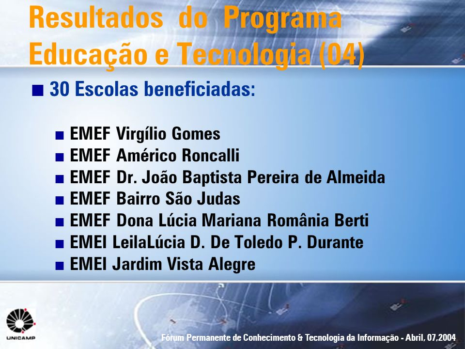 Resultados do Programa Educação e Tecnologia (04)