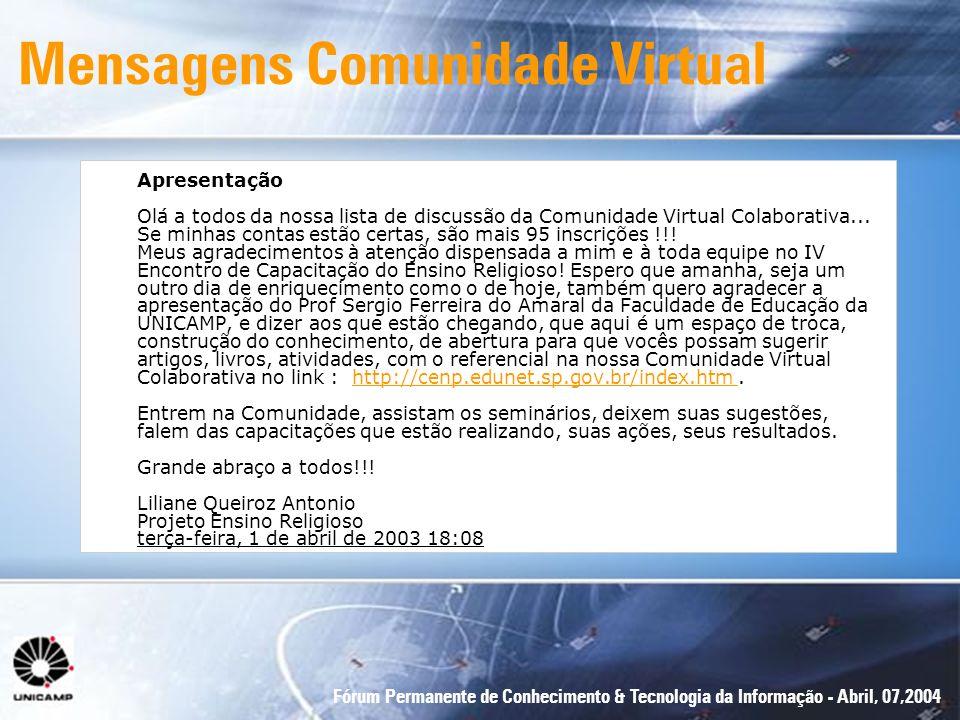 Mensagens Comunidade Virtual
