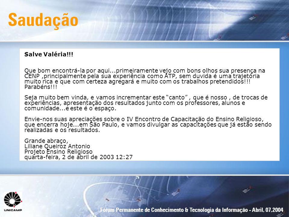 Saudação Salve Valéria!!!
