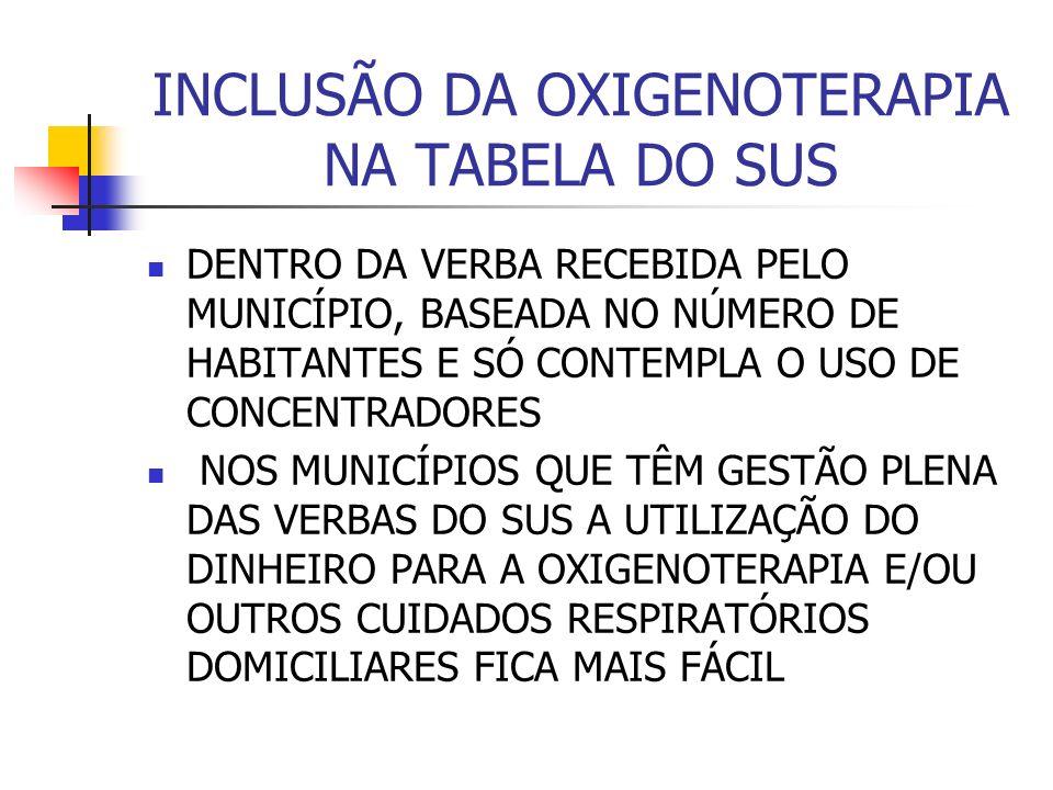 INCLUSÃO DA OXIGENOTERAPIA NA TABELA DO SUS
