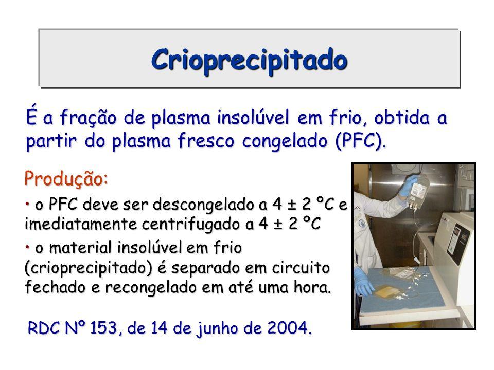 Crioprecipitado É a fração de plasma insolúvel em frio, obtida a partir do plasma fresco congelado (PFC).
