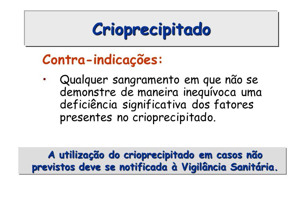 Crioprecipitado Contra-indicações: