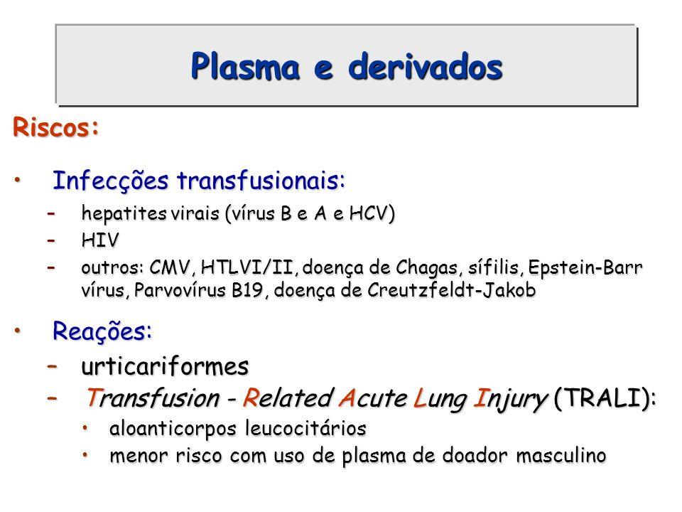 Plasma e derivados Riscos: Infecções transfusionais: Reações: