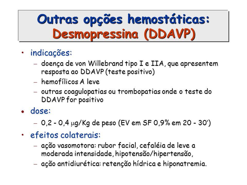 Outras opções hemostáticas: Desmopressina (DDAVP)