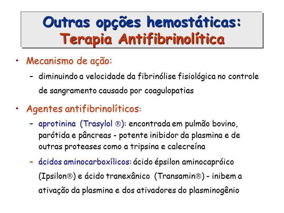 Outras opções hemostáticas: Terapia Antifibrinolítica