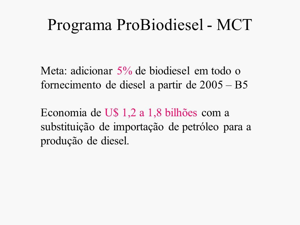 Programa ProBiodiesel - MCT