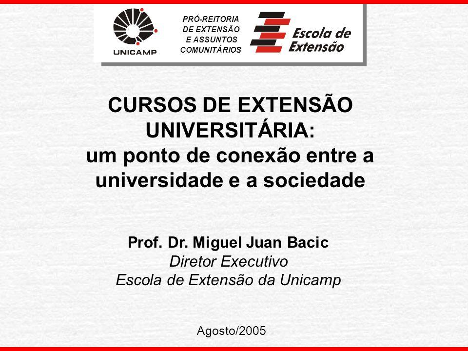 PRÓ-REITORIA DE EXTENSÃO. E ASSUNTOS. COMUNITÁRIOS. CURSOS DE EXTENSÃO UNIVERSITÁRIA: um ponto de conexão entre a universidade e a sociedade.