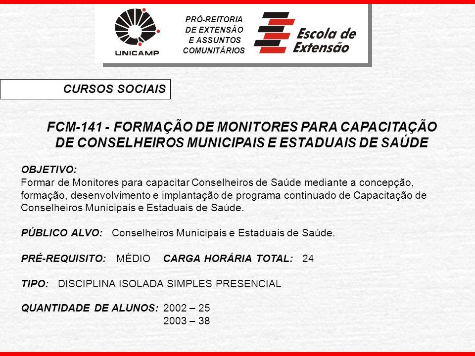 FCM-141 - FORMAÇÃO DE MONITORES PARA CAPACITAÇÃO