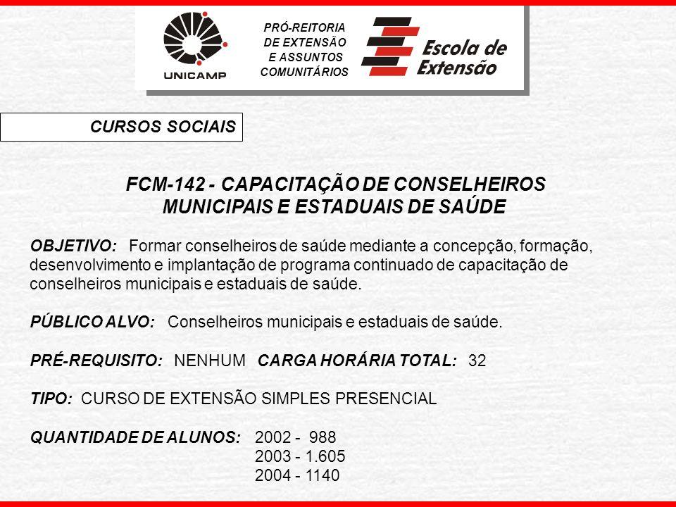 FCM-142 - CAPACITAÇÃO DE CONSELHEIROS