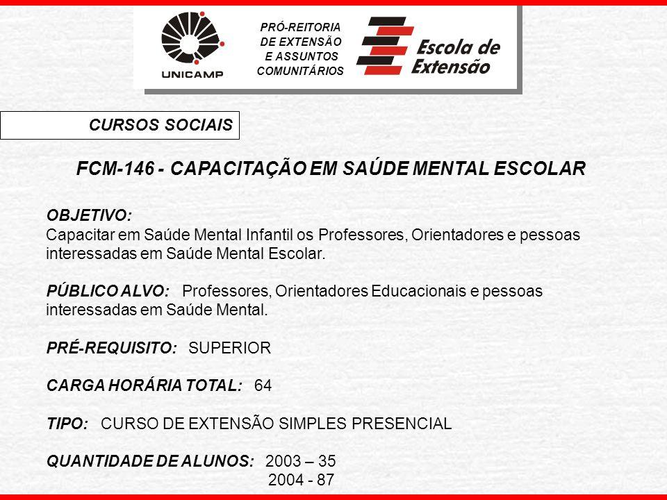 FCM-146 - CAPACITAÇÃO EM SAÚDE MENTAL ESCOLAR