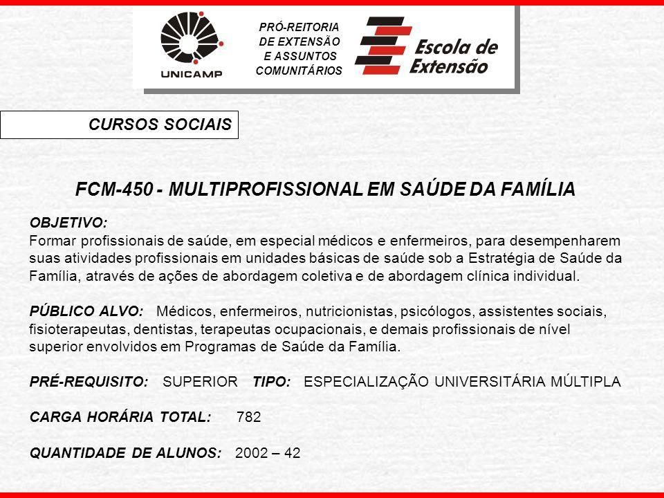 FCM-450 - MULTIPROFISSIONAL EM SAÚDE DA FAMÍLIA