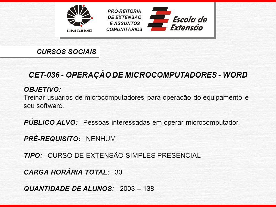 CET-036 - OPERAÇÃO DE MICROCOMPUTADORES - WORD