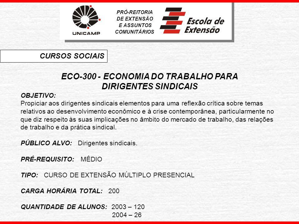 ECO-300 - ECONOMIA DO TRABALHO PARA
