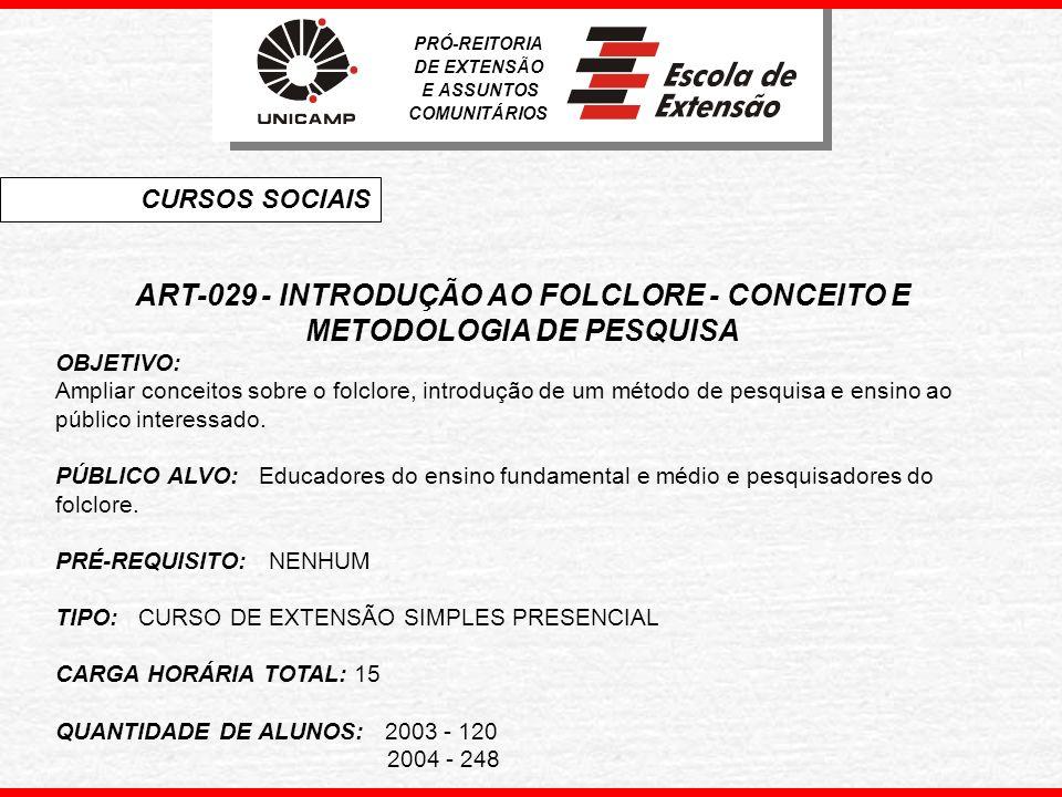 ART-029 - INTRODUÇÃO AO FOLCLORE - CONCEITO E METODOLOGIA DE PESQUISA