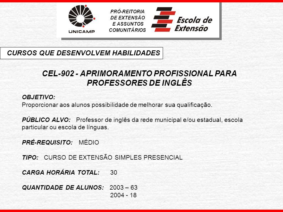 CEL-902 - APRIMORAMENTO PROFISSIONAL PARA PROFESSORES DE INGLÊS