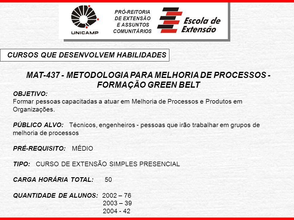 MAT-437 - METODOLOGIA PARA MELHORIA DE PROCESSOS - FORMAÇÃO GREEN BELT