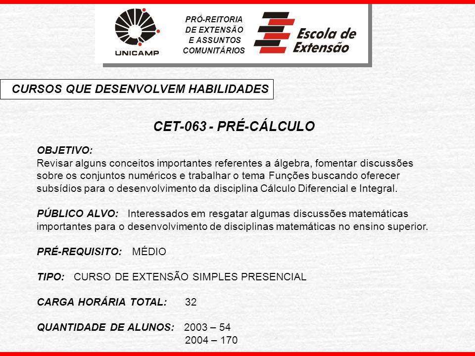 CET-063 - PRÉ-CÁLCULO CURSOS QUE DESENVOLVEM HABILIDADES OBJETIVO: