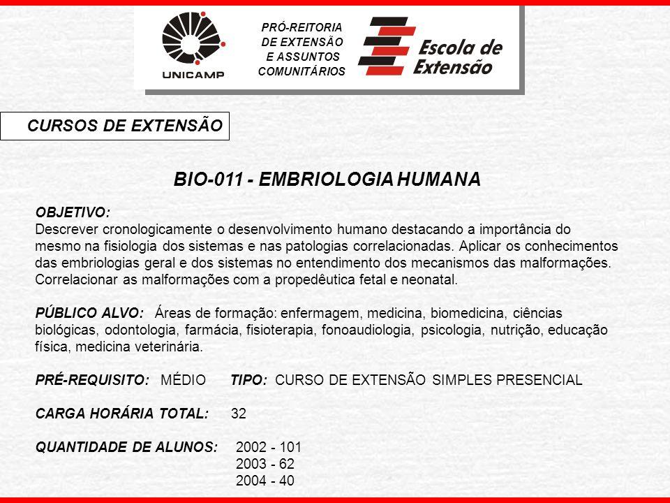 BIO-011 - EMBRIOLOGIA HUMANA